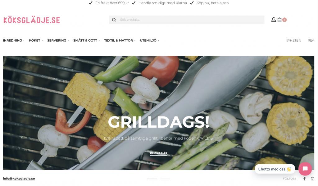 e-handel blå webbyrå byggt för köksglädje.se